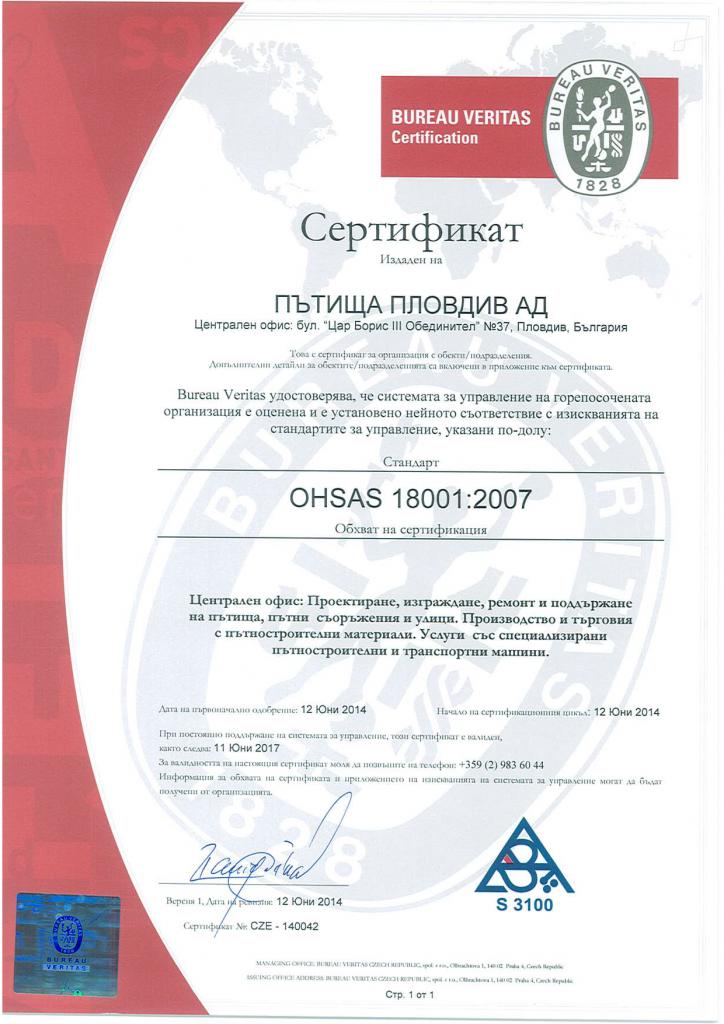 OHSAS 18001-2007 P 1 of 2 BG
